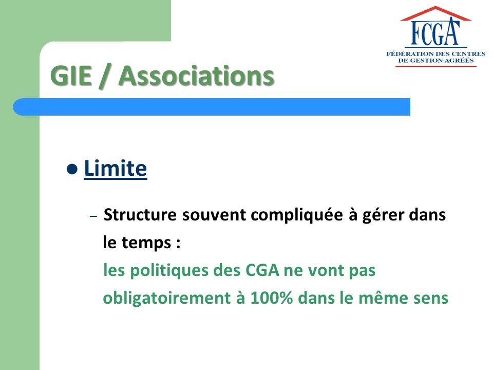 GIE / Associations Limite – Structure souvent compliquée à gérer dans le temps : les politiques des CGA ne vont pas obligatoirement à 100% dans le mêm