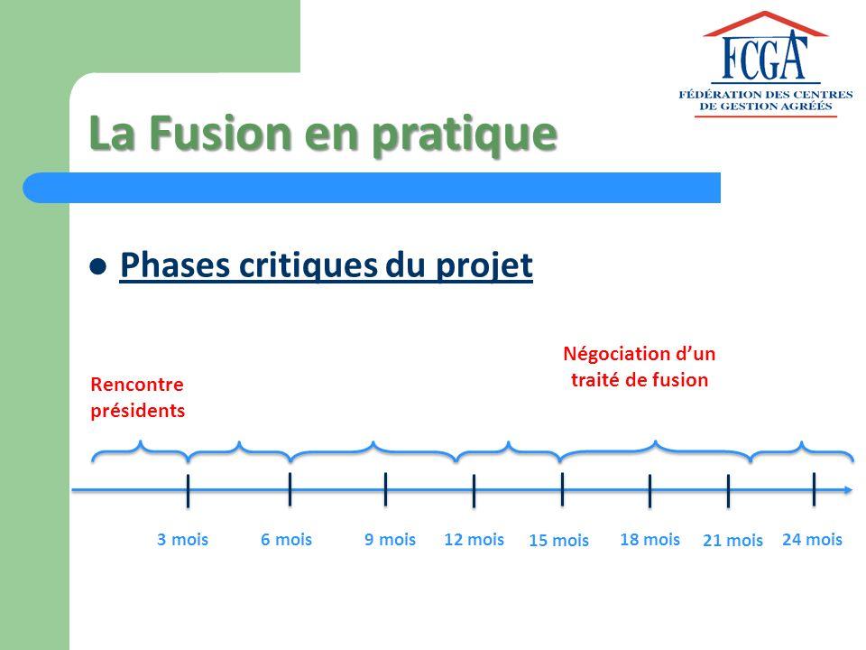 La Fusion en pratique Phases critiques du projet Rencontre présidents 3 mois6 mois9 mois12 mois 15 mois 18 mois 21 mois 24 mois Négociation dun traité
