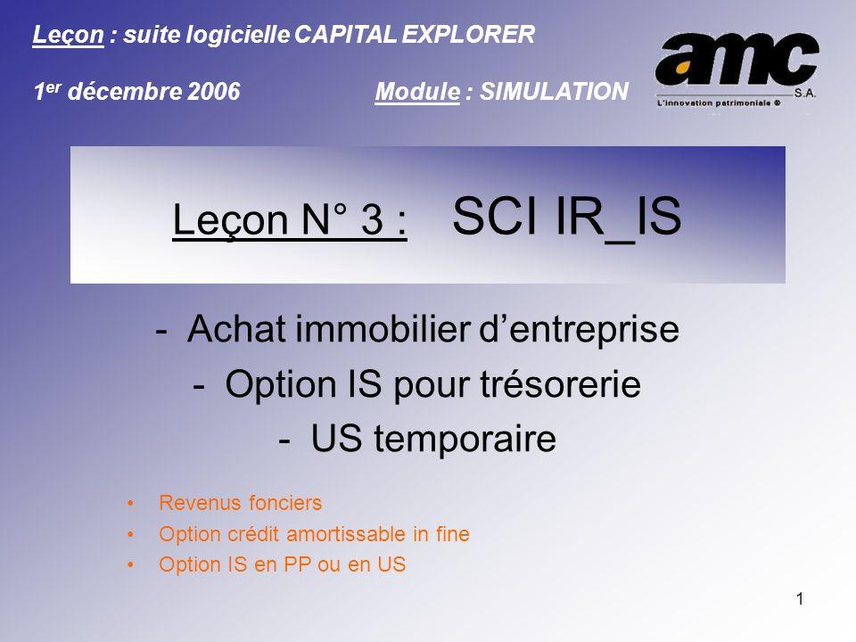 2 Introduction Les « leçons AMC » sont destinées à vous permettre de travailler des cas « types », présentant une valeur ajoutée réelle.