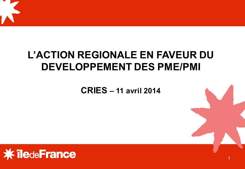 1 LACTION REGIONALE EN FAVEUR DU DEVELOPPEMENT DES PME/PMI CRIES – 11 avril 2014