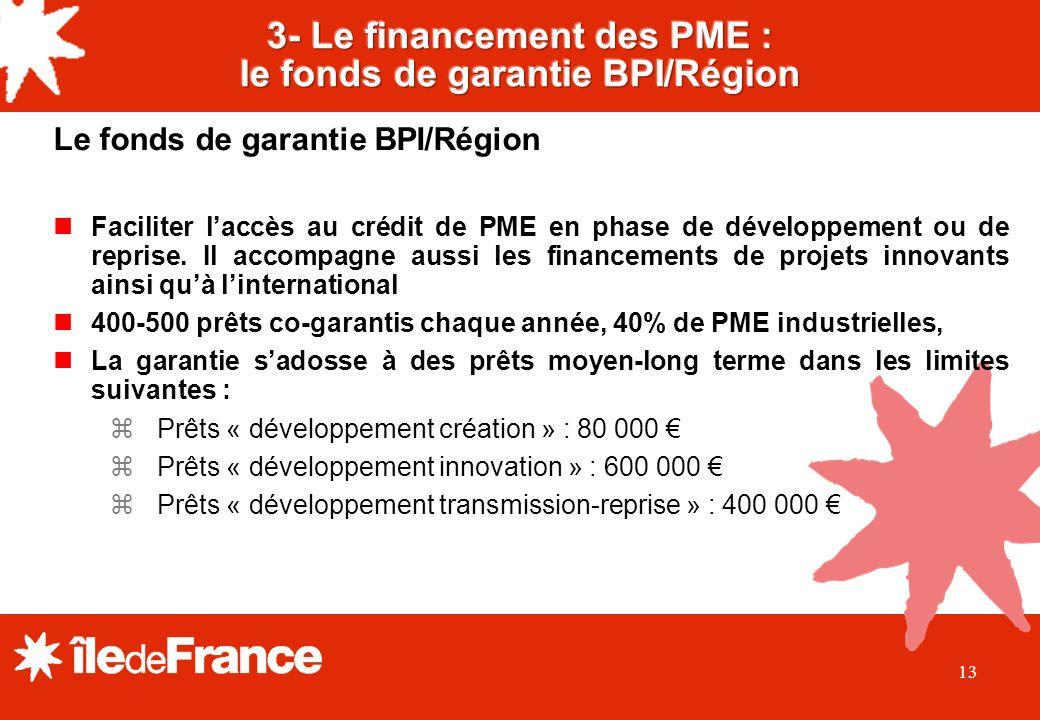 13 Le fonds de garantie BPI/Région Faciliter laccès au crédit de PME en phase de développement ou de reprise.
