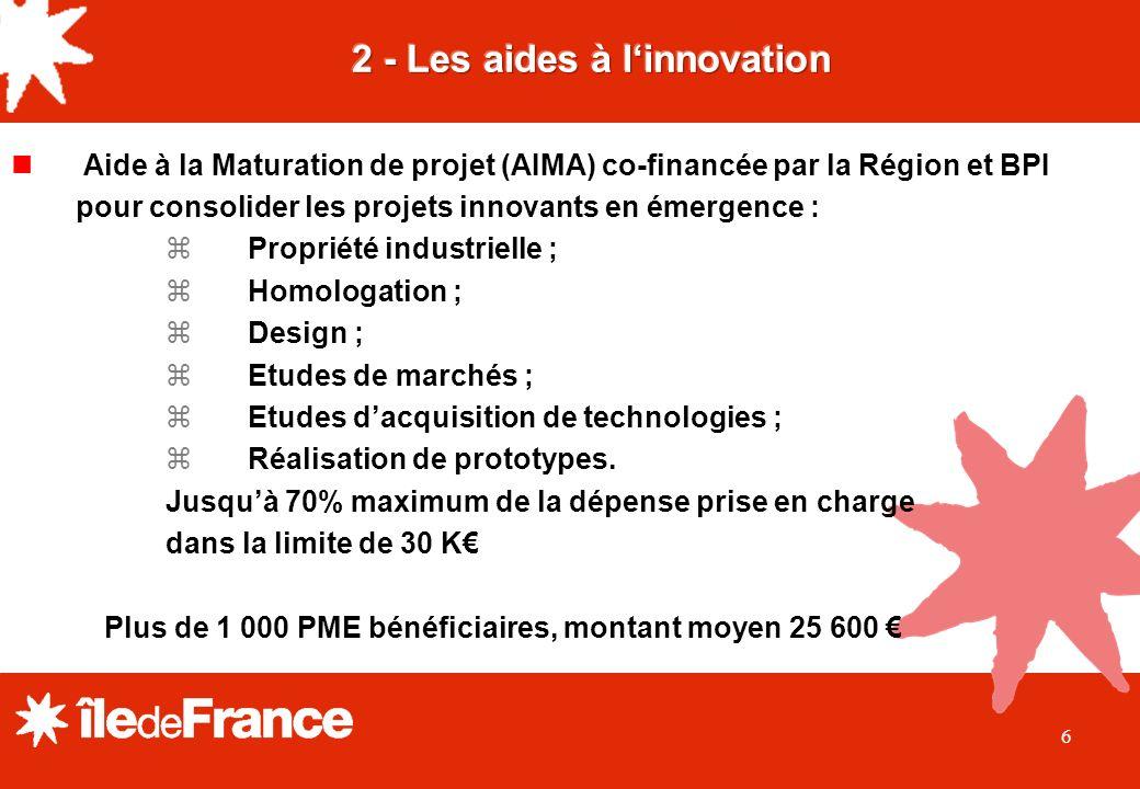 6 Aide à la Maturation de projet (AIMA) co-financée par la Région et BPI pour consolider les projets innovants en émergence : Propriété industrielle ; Homologation ; Design ; Etudes de marchés ; Etudes dacquisition de technologies ; Réalisation de prototypes.