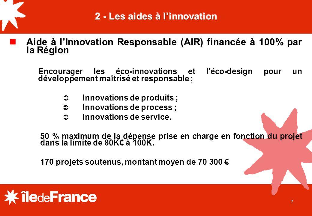 7 Aide à lInnovation Responsable (AIR) financée à 100% par la Région Encourager les éco-innovations et léco-design pour un développement maîtrisé et responsable ; Innovations de produits ; Innovations de process ; Innovations de service.