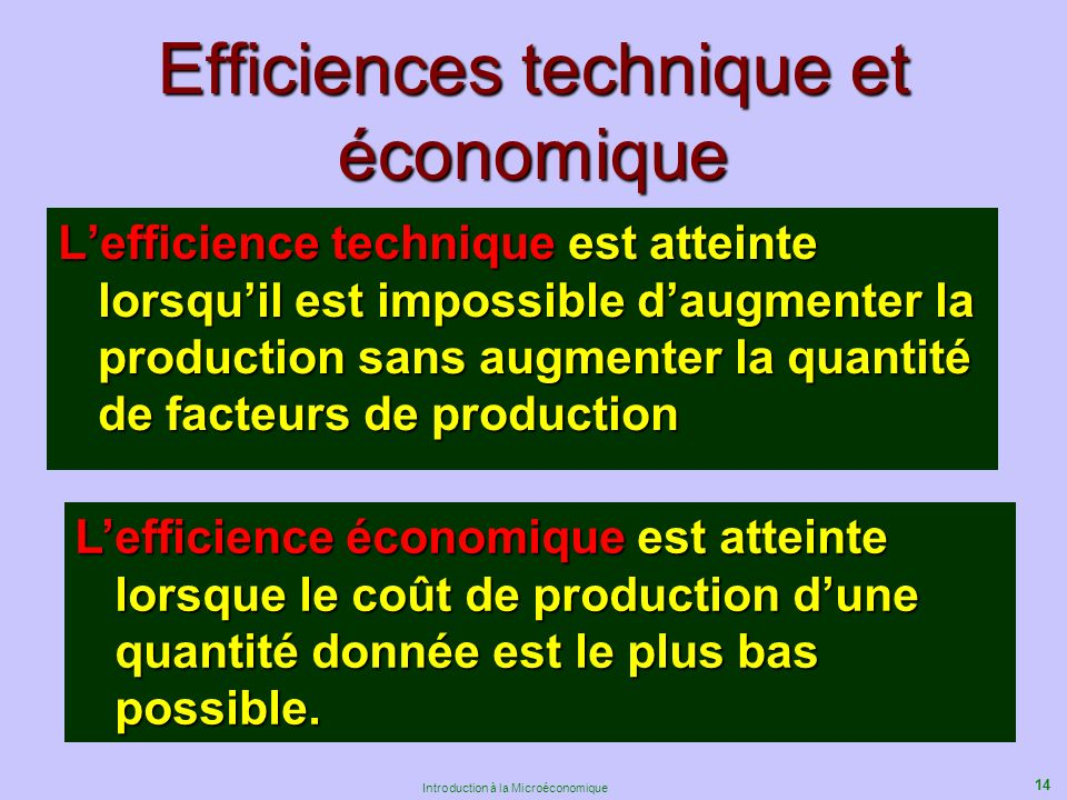 14 Introduction à la Microéconomique Efficiences technique et économique Lefficience technique est atteinte lorsquil est impossible daugmenter la production sans augmenter la quantité de facteurs de production Lefficience économique est atteinte lorsque le coût de production dune quantité donnée est le plus bas possible.