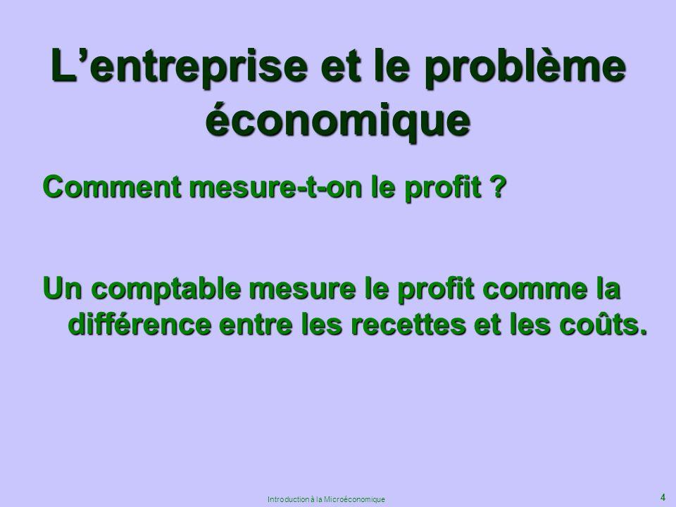4 Introduction à la Microéconomique Lentreprise et le problème économique Comment mesure-t-on le profit .