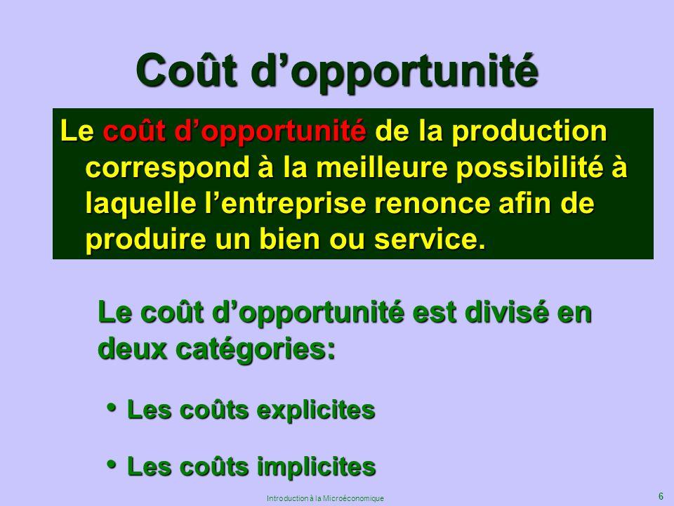 6 Introduction à la Microéconomique Coût dopportunité Le coût dopportunité de la production correspond à la meilleure possibilité à laquelle lentreprise renonce afin de produire un bien ou service.