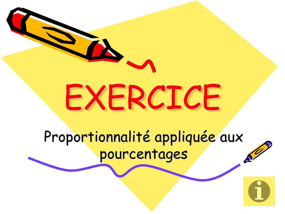 EXERCICEEXERCICE Proportionnalité appliquée aux pourcentages