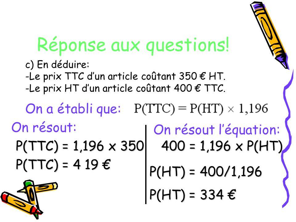 Réponse aux questions! c) En déduire: -Le prix TTC dun article coûtant 350 HT. -Le prix HT dun article coûtant 400 TTC. On a établi que: On résout: P(