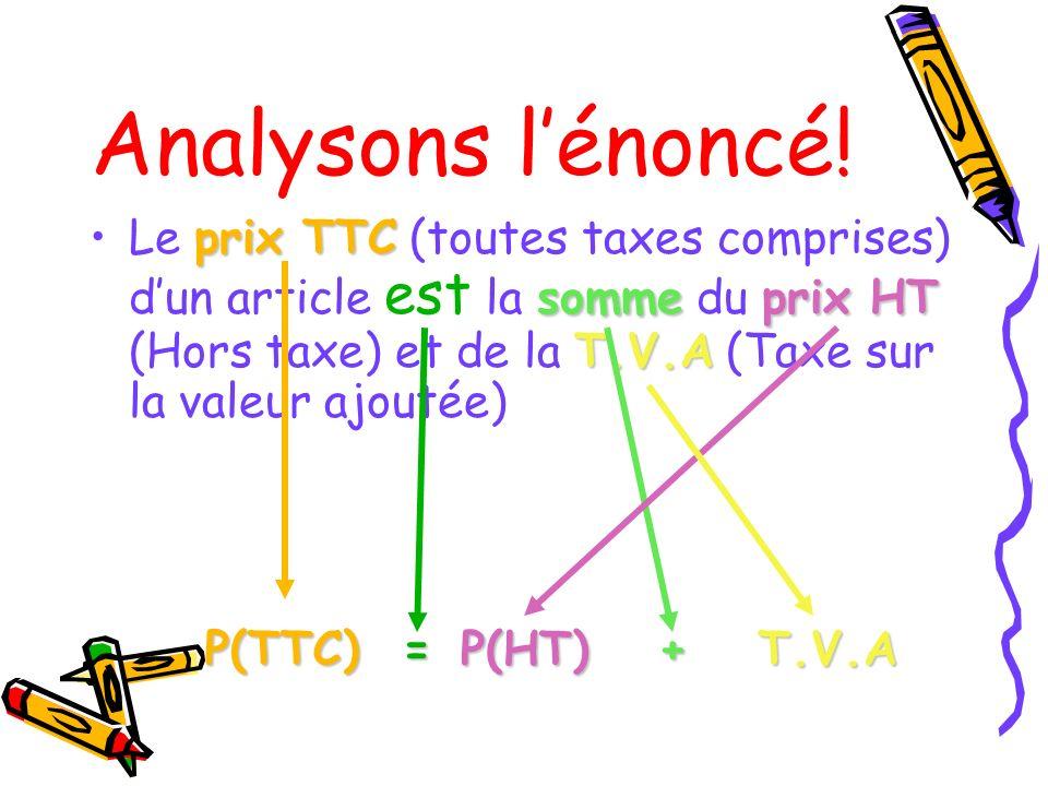 Analysons lénoncé! Le p pp prix TTC (toutes taxes comprises) dun article est la s ss somme du p pp prix HT (Hors taxe) et de la T TT T.V.A (Taxe sur l