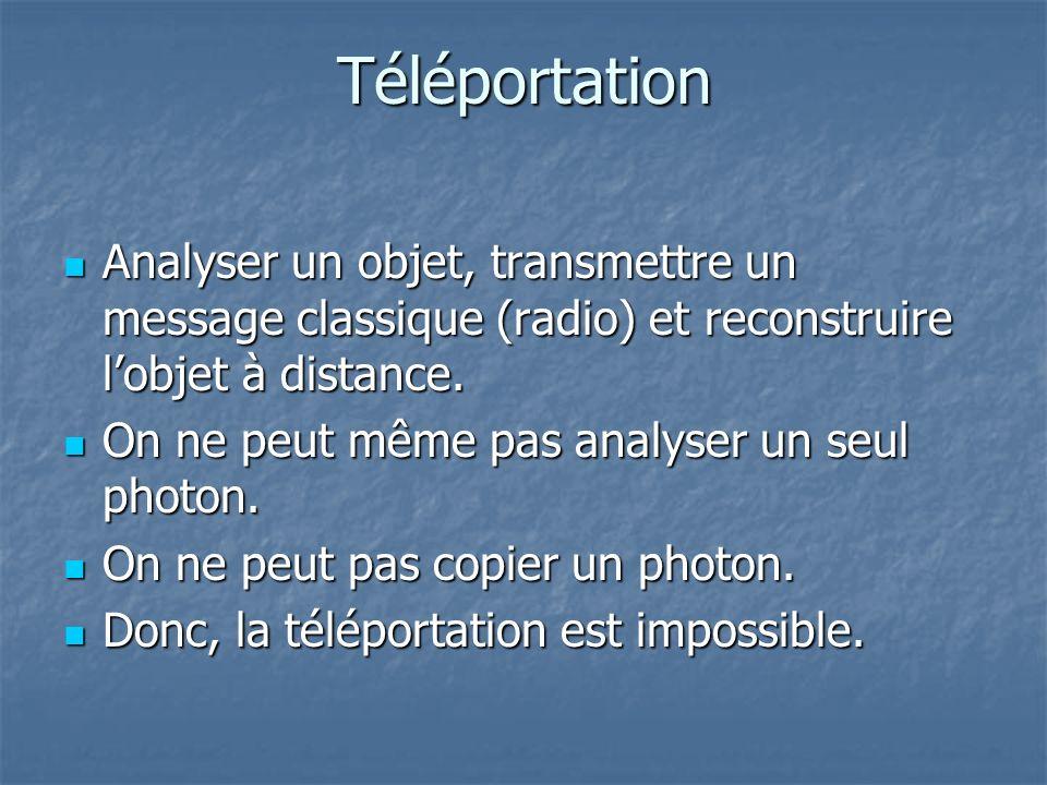 Téléportation Analyser un objet, transmettre un message classique (radio) et reconstruire lobjet à distance. Analyser un objet, transmettre un message