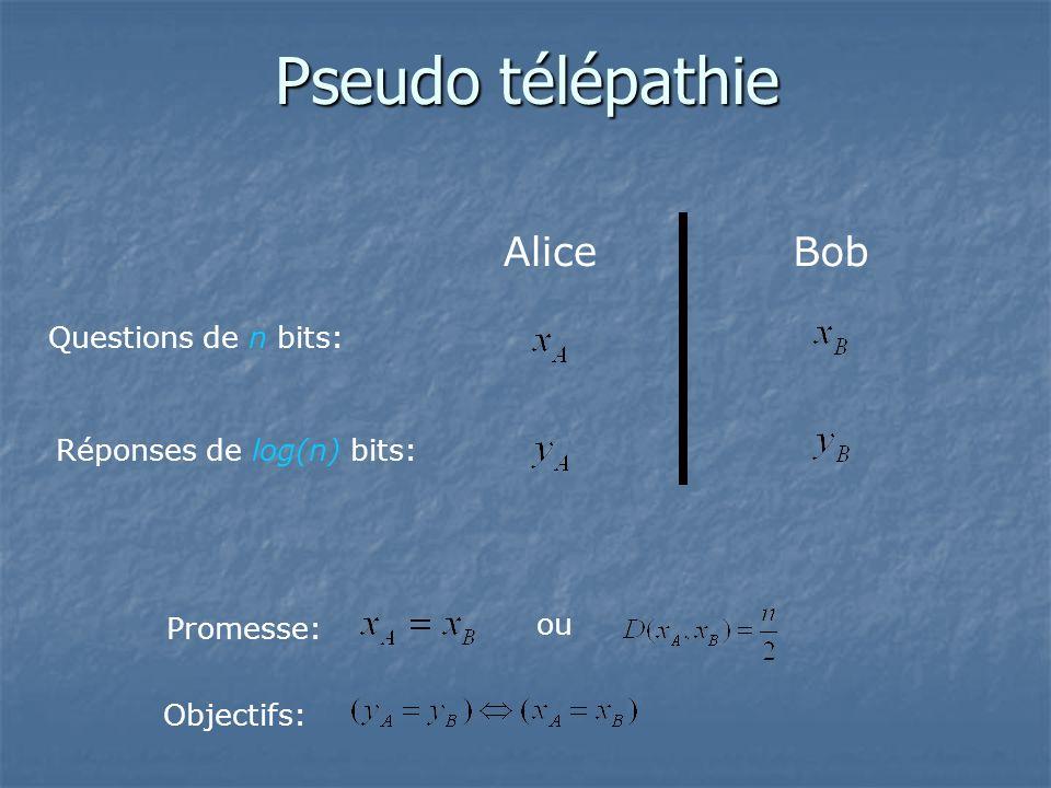 AliceBob Questions de n bits: Réponses de log(n) bits: Promesse: ou Objectifs: