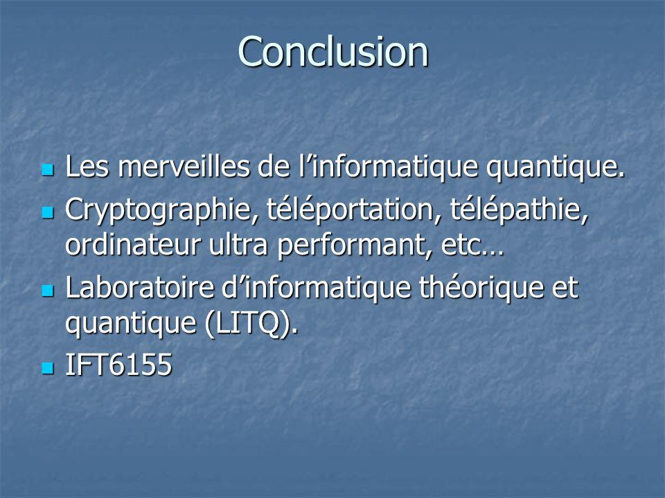 Conclusion Les merveilles de linformatique quantique. Les merveilles de linformatique quantique. Cryptographie, téléportation, télépathie, ordinateur