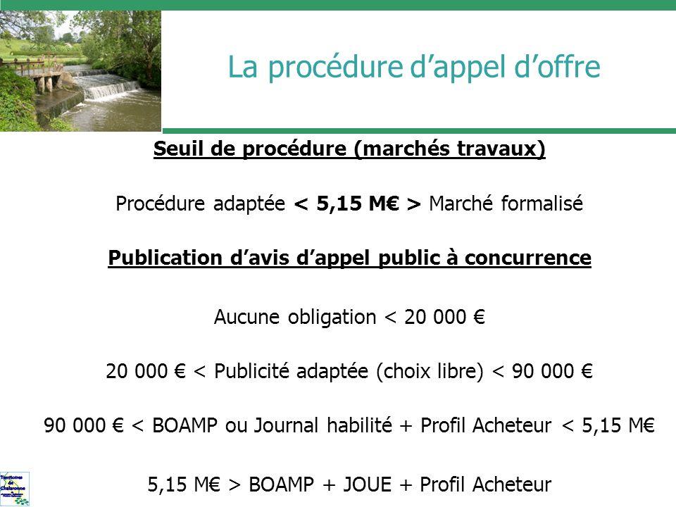 La procédure dappel doffre Seuil de procédure (marchés travaux) Procédure adaptée Marché formalisé Publication davis dappel public à concurrence Aucun