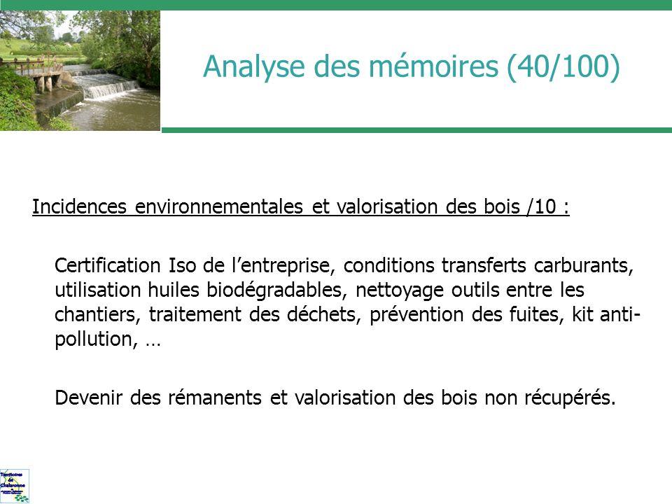 Analyse des mémoires (40/100) Incidences environnementales et valorisation des bois /10 : Certification Iso de lentreprise, conditions transferts carb