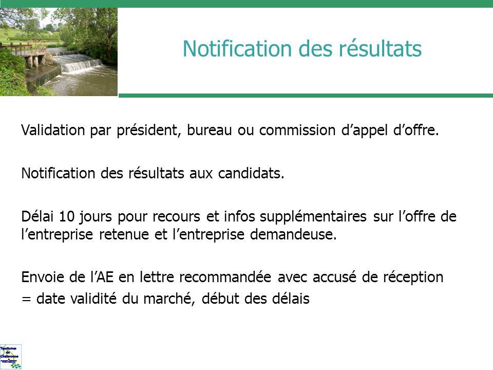 Notification des résultats Validation par président, bureau ou commission dappel doffre. Notification des résultats aux candidats. Délai 10 jours pour