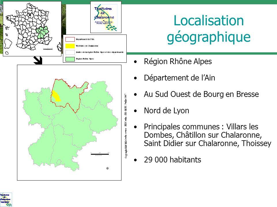 Localisation géographique Région Rhône Alpes Département de lAin Au Sud Ouest de Bourg en Bresse Nord de Lyon Principales communes : Villars les Dombe