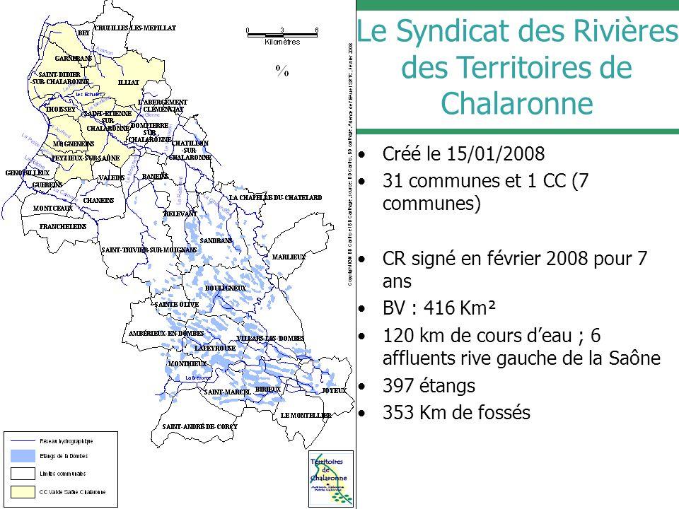 Le Syndicat des Rivières des Territoires de Chalaronne Créé le 15/01/2008 31 communes et 1 CC (7 communes) CR signé en février 2008 pour 7 ans BV : 41