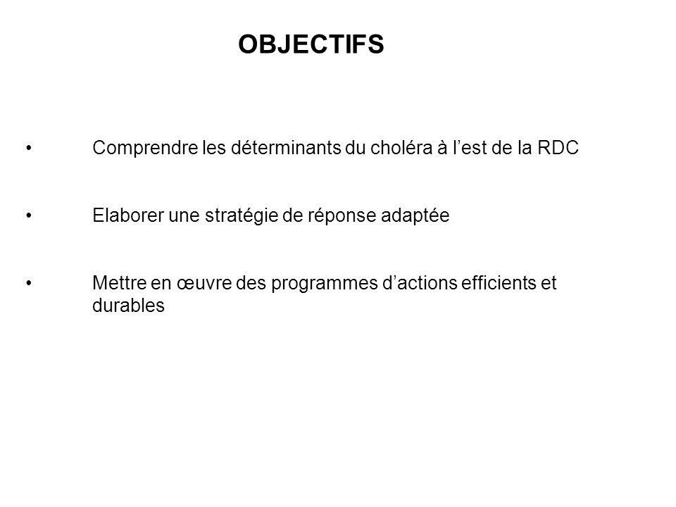 OBJECTIFS Comprendre les déterminants du choléra à lest de la RDC Elaborer une stratégie de réponse adaptée Mettre en œuvre des programmes dactions ef