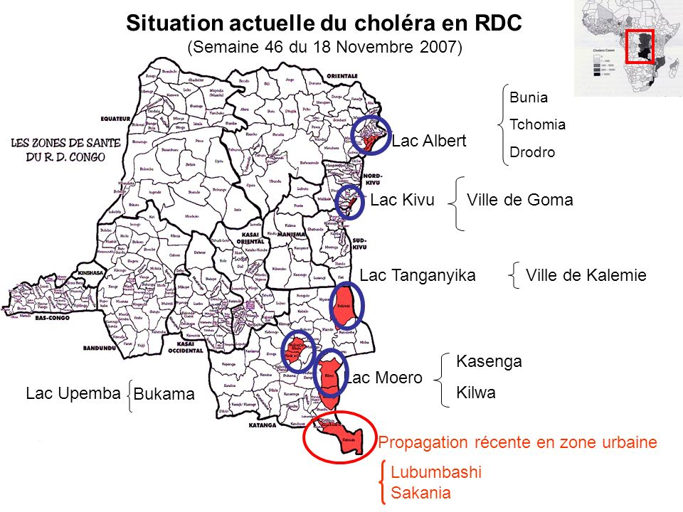 Lac Albert Lac Kivu Lac Tanganyika Lac Moero Lac Upemba Propagation récente en zone urbaine Lubumbashi Sakania Bunia Tchomia Drodro Ville de Goma Vill