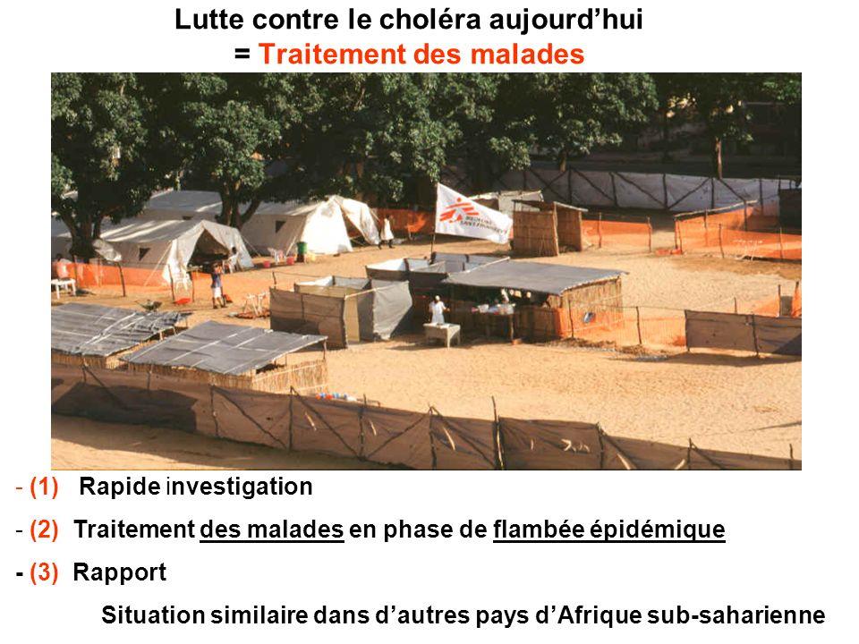 Lutte contre le choléra aujourdhui = Traitement des malades - (1) Rapide investigation - (2) Traitement des malades en phase de flambée épidémique - (