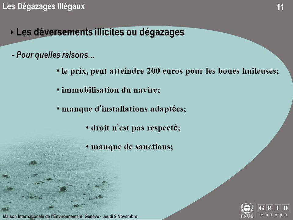 11 Les déversements illicites ou dégazages - Pour quelles raisons… le prix, peut atteindre 200 euros pour les boues huileuses; manque de sanctions; dr