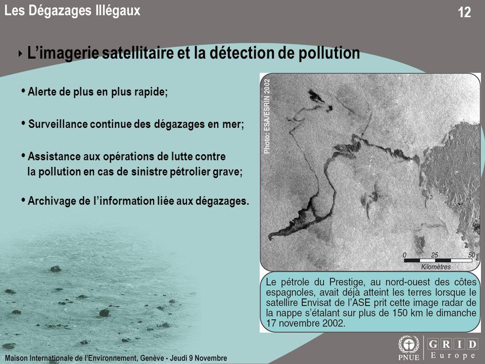 12 Limagerie satellitaire et la détection de pollution Alerte de plus en plus rapide; Surveillance continue des dégazages en mer; Assistance aux opéra