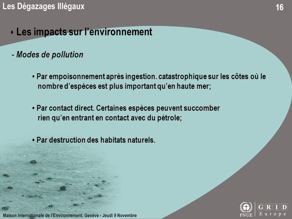 16 Les impacts sur lenvironnement - Modes de pollution Par empoisonnement après ingestion. catastrophique sur les côtes où le nombre despèces est plus