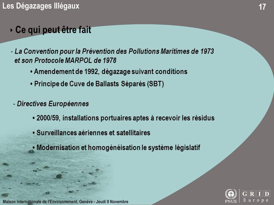 17 Ce qui peut être fait - La Convention pour la Prévention des Pollutions Maritimes de 1973 et son Protocole MARPOL de 1978 Amendement de 1992, dégaz