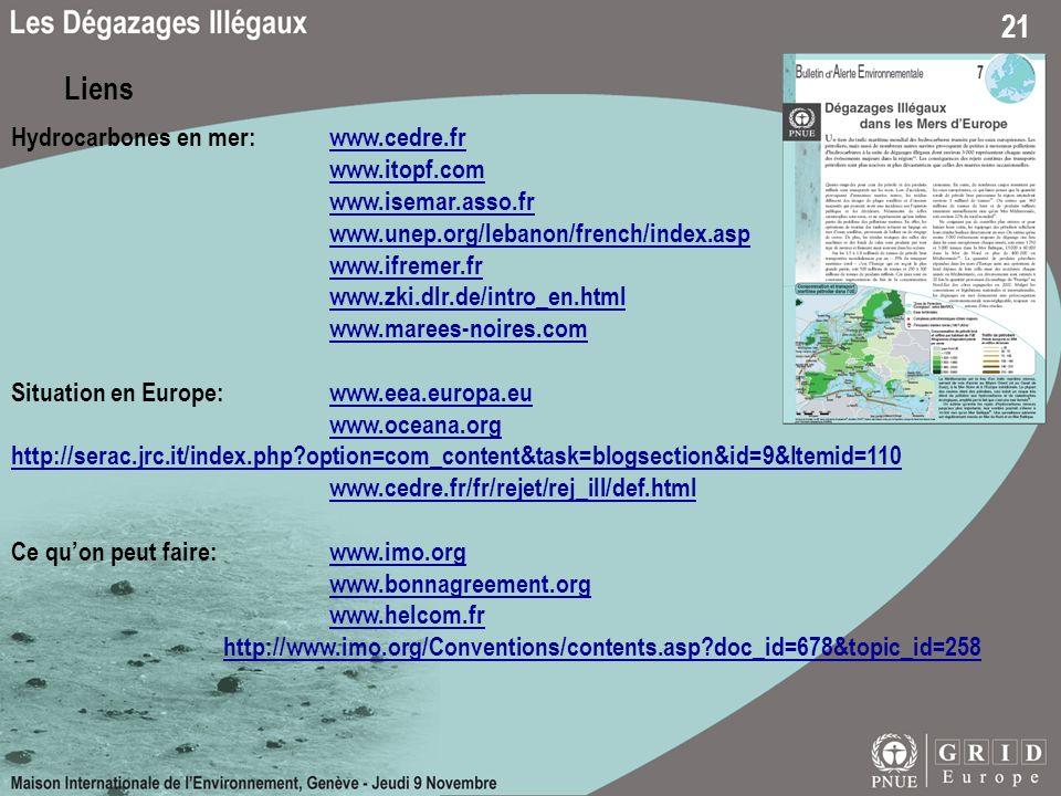 21 Liens Hydrocarbones en mer: www.cedre.frwww.cedre.fr www.itopf.com www.isemar.asso.fr www.unep.org/lebanon/french/index.asp www.ifremer.fr www.zki.