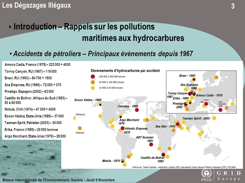 3 Introduction – Rappels sur les pollutions maritimes aux hydrocarbures Accidents de pétroliers – Principaux événements depuis 1967 Amoco Cadiz, France (1978) – 223 000 + 4000 Torrey Canyon, RU (1967) – 119 000 Braer, RU (1993) – 84 700 + 1500 Sea Empress, RU (1996) – 72 000 + 370 Prestige, Espagne (2002) – 63 000 Castillo de Bellver, Afrique du Sud (1983) – 50 à 60 000 Metula, Chili (1974) – 47 000 + 4000 Exxon Valdez, Etats-Unis (1989) – 37 000 Tasman Spirit, Pakistan (2003) – 30 000 Erika, France (1999) – 20 000 tonnes Argo Merchant, Etats-Unis (1976) – 28 000