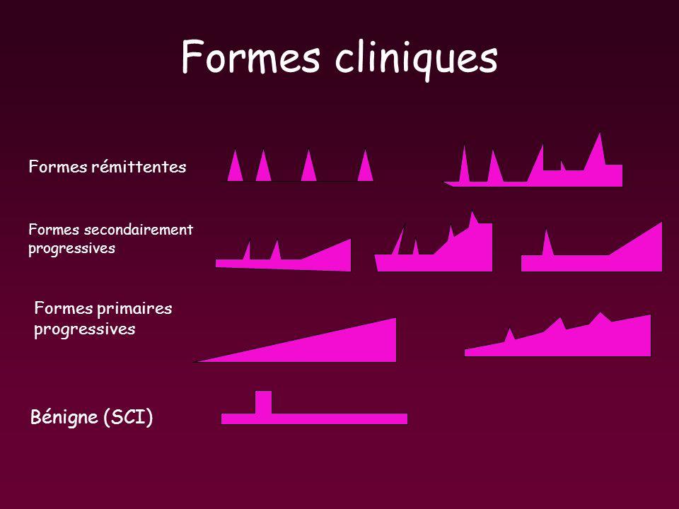 Formes cliniques Formes rémittentes Formes secondairement progressives Formes primaires progressives Bénigne (SCI)