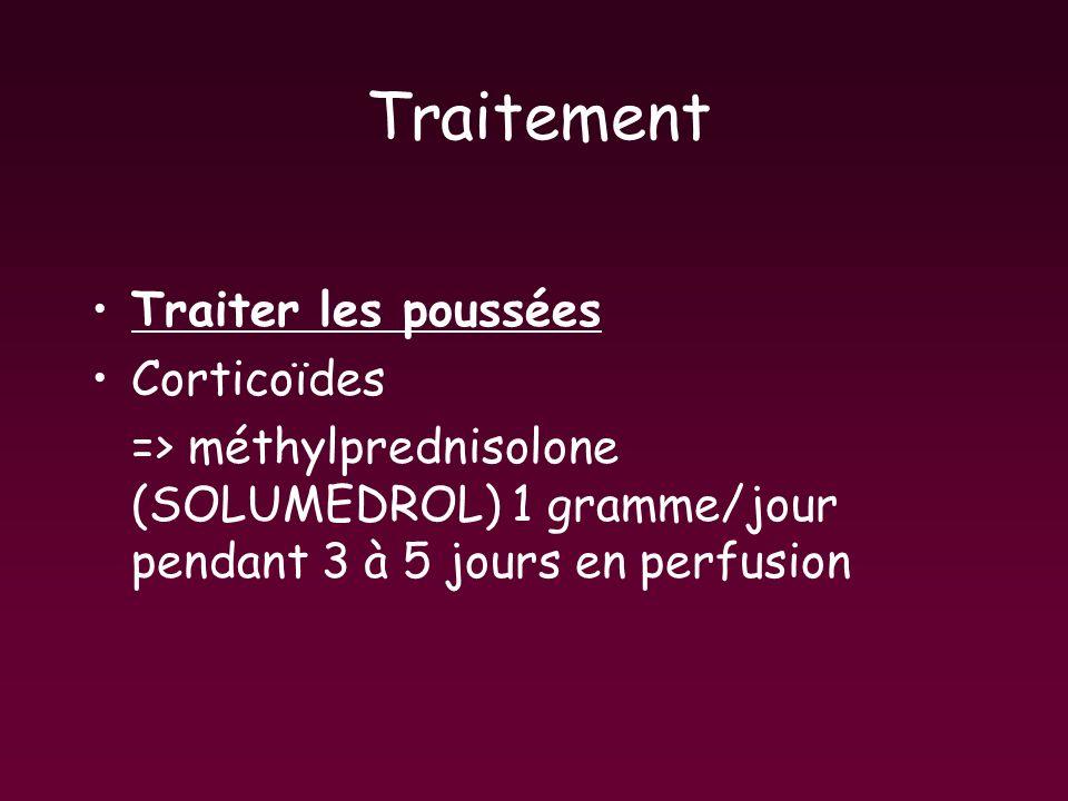 Traitement Traiter les poussées Corticoïdes => méthylprednisolone (SOLUMEDROL) 1 gramme/jour pendant 3 à 5 jours en perfusion