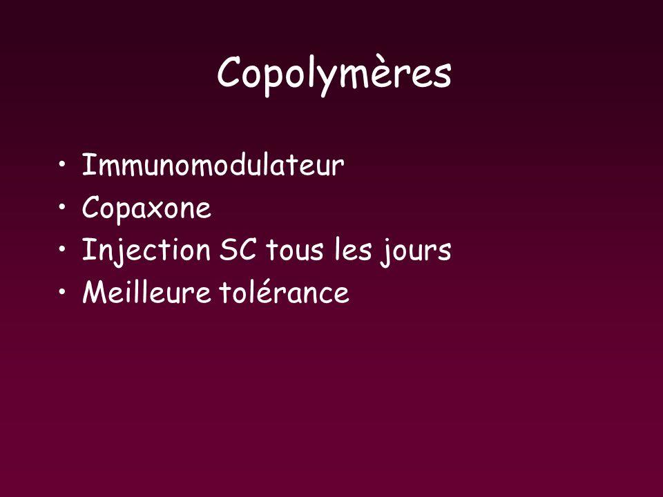 Copolymères Immunomodulateur Copaxone Injection SC tous les jours Meilleure tolérance