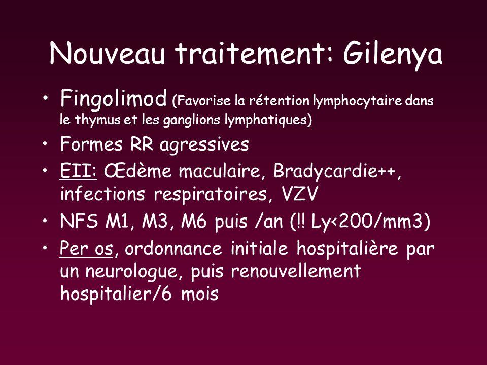 Nouveau traitement: Gilenya FingolimodFingolimod (Favorise la rétention lymphocytaire dans le thymus et les ganglions lymphatiques) Formes RR agressiv