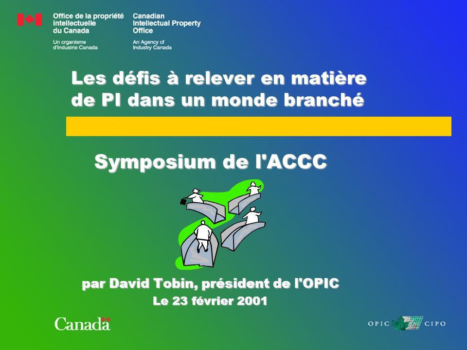 Les défis à relever en matière de PI dans un monde branché Symposium de l ACCC par David Tobin, président de l OPIC Le 23 février 2001