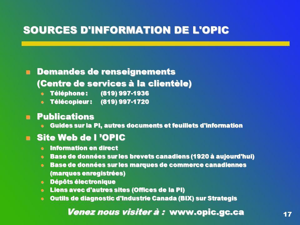 16 L'OPIC ET LA DIFFUSION DE LA PI Suites données au sondage : l Accent sur le développement du site Web de l OPIC l Amélioration des bases de données