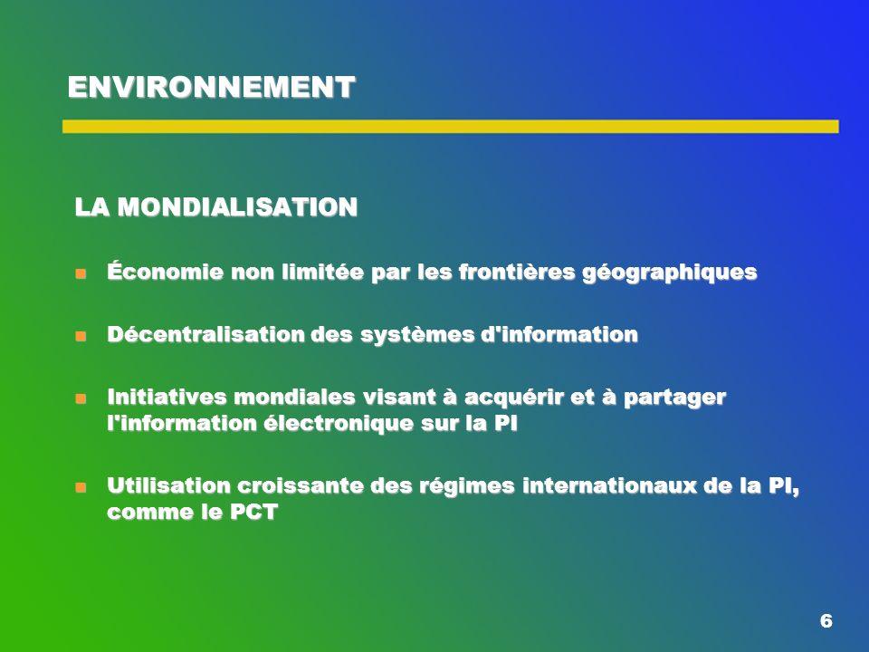 6 ENVIRONNEMENT LA MONDIALISATION n Économie non limitée par les frontières géographiques n Décentralisation des systèmes d information n Initiatives mondiales visant à acquérir et à partager l information électronique sur la PI n Utilisation croissante des régimes internationaux de la PI, comme le PCT