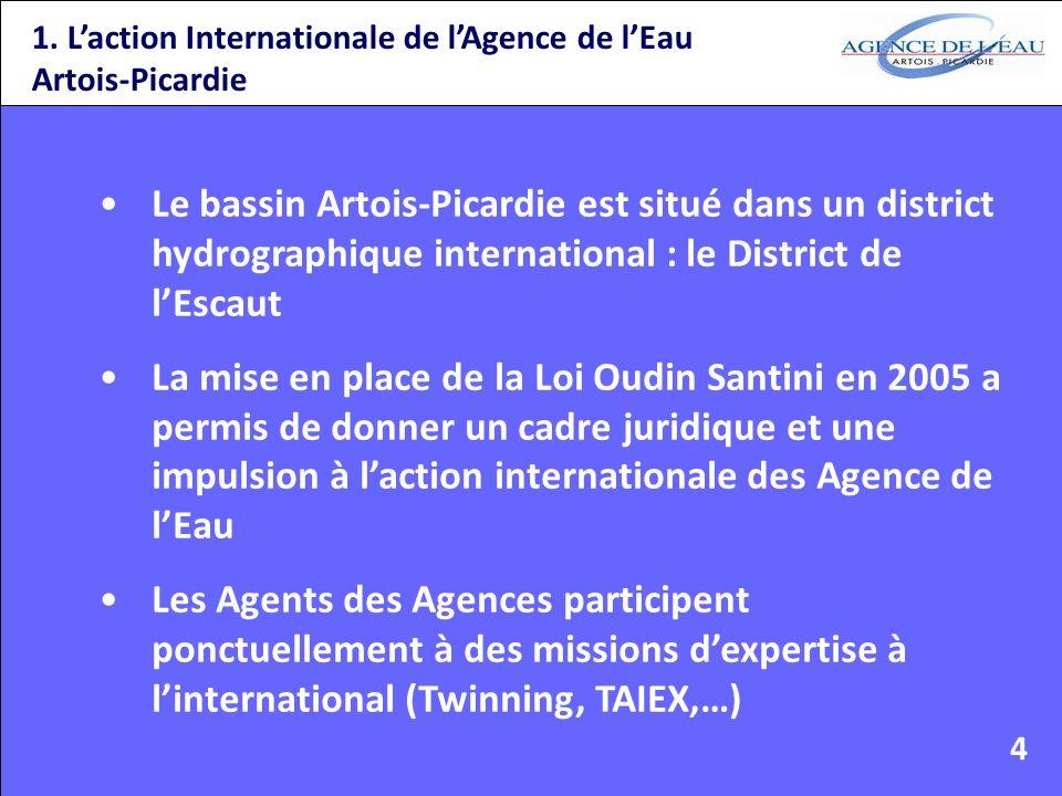 1. Laction Internationale de lAgence de lEau Artois-Picardie Le bassin Artois-Picardie est situé dans un district hydrographique international : le Di