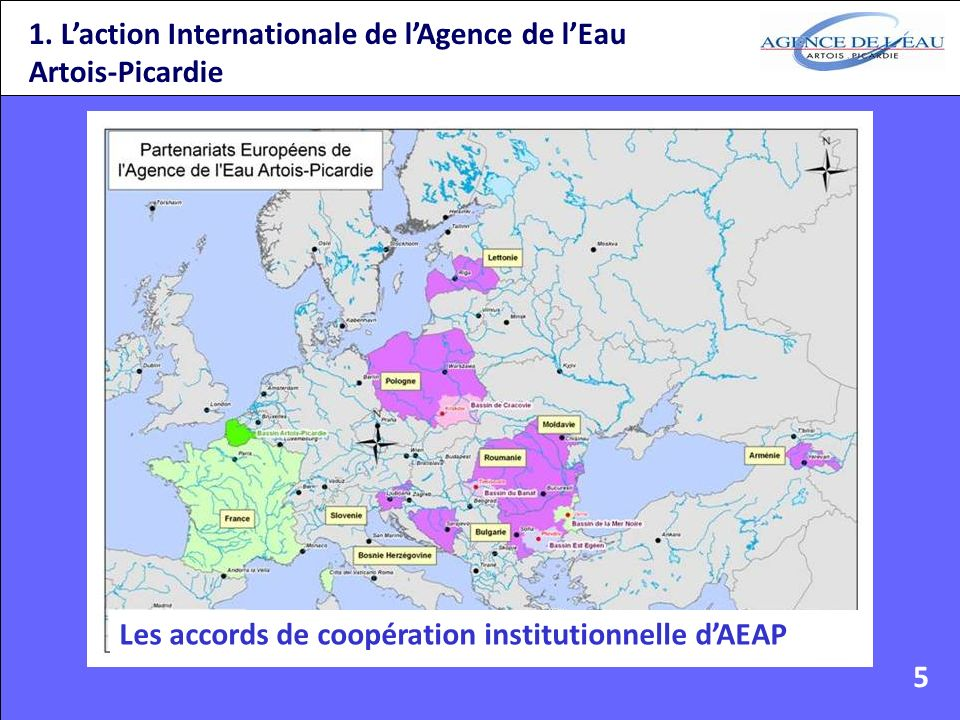 1. Laction Internationale de lAgence de lEau Artois-Picardie Les accords de coopération institutionnelle dAEAP 5