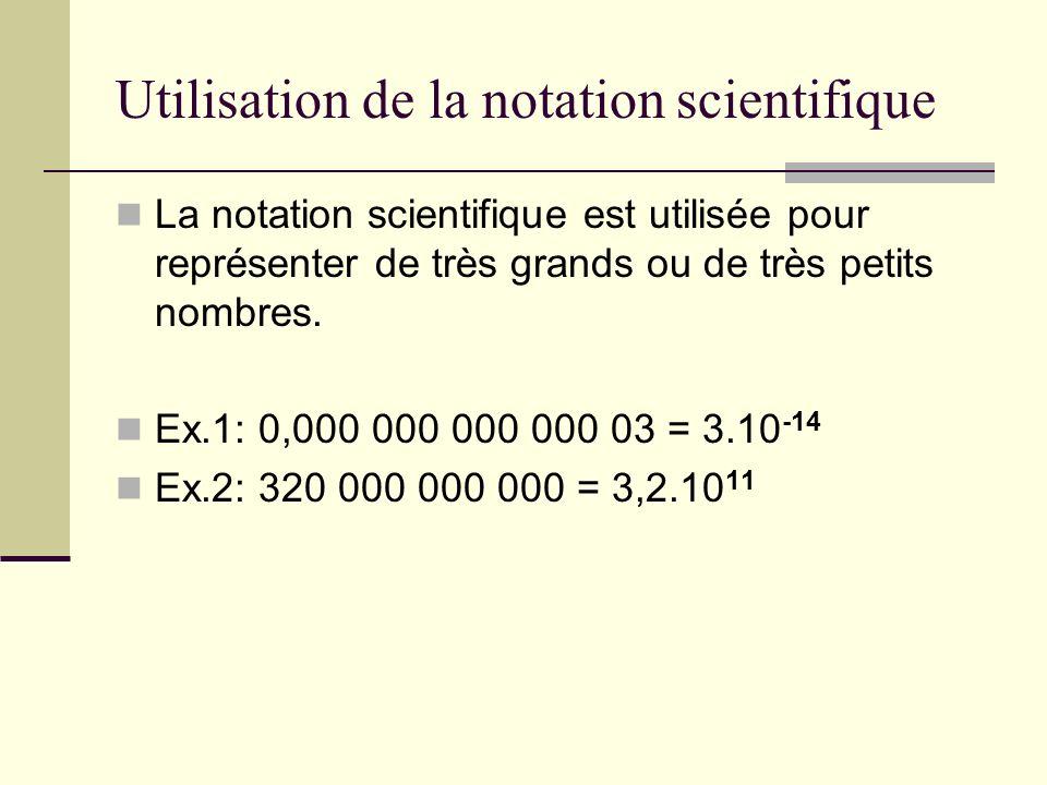 Utilisation de la notation scientifique La notation scientifique est utilisée pour représenter de très grands ou de très petits nombres. Ex.1: 0,000 0