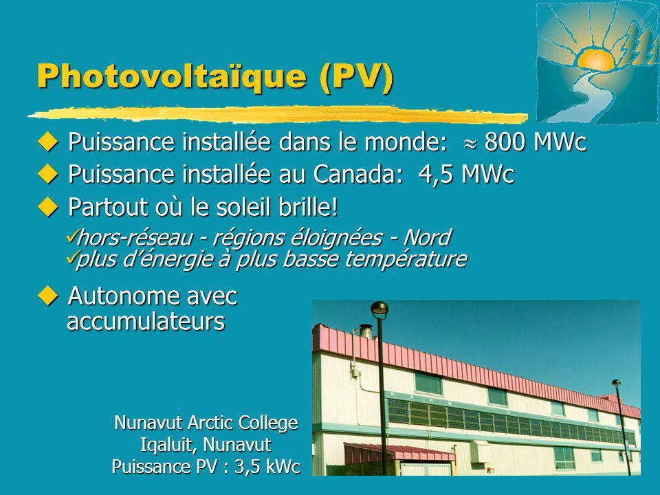 u Puissance installée dans le monde: 800 MWc u Puissance installée au Canada: 4,5 MWc u Partout où le soleil brille! hors-réseau - régions éloignées -