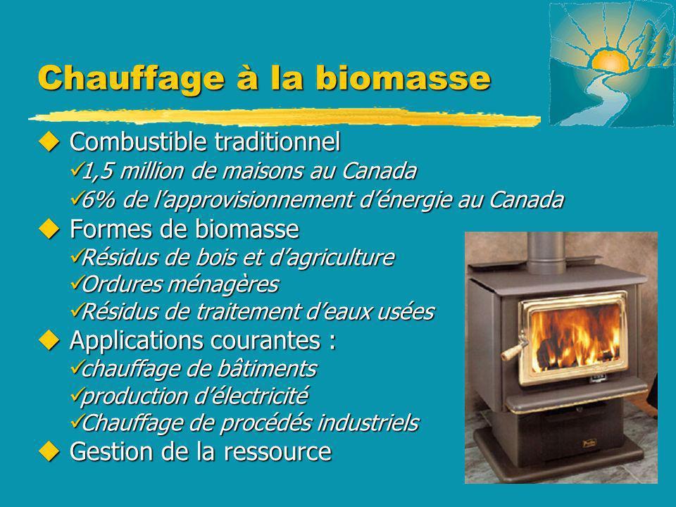 Chauffage à la biomasse u Combustible traditionnel 1,5 million de maisons au Canada 1,5 million de maisons au Canada 6% de lapprovisionnement dénergie