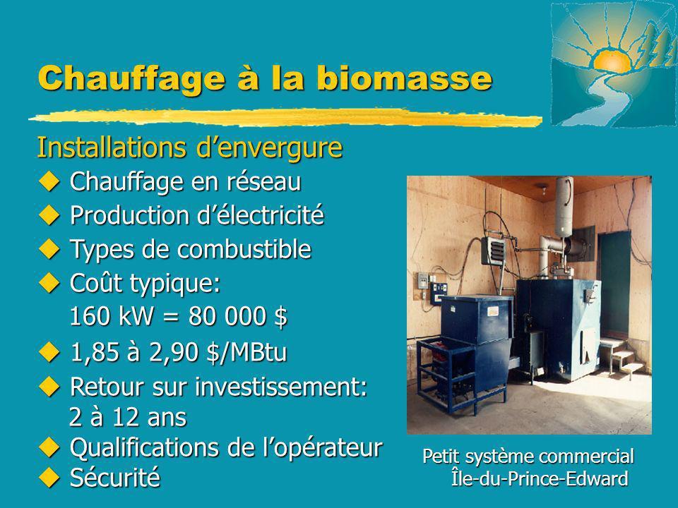 Chauffage à la biomasse Petit système commercial Île-du-Prince-Edward Île-du-Prince-Edward Installations denvergure u Chauffage en réseau u Production