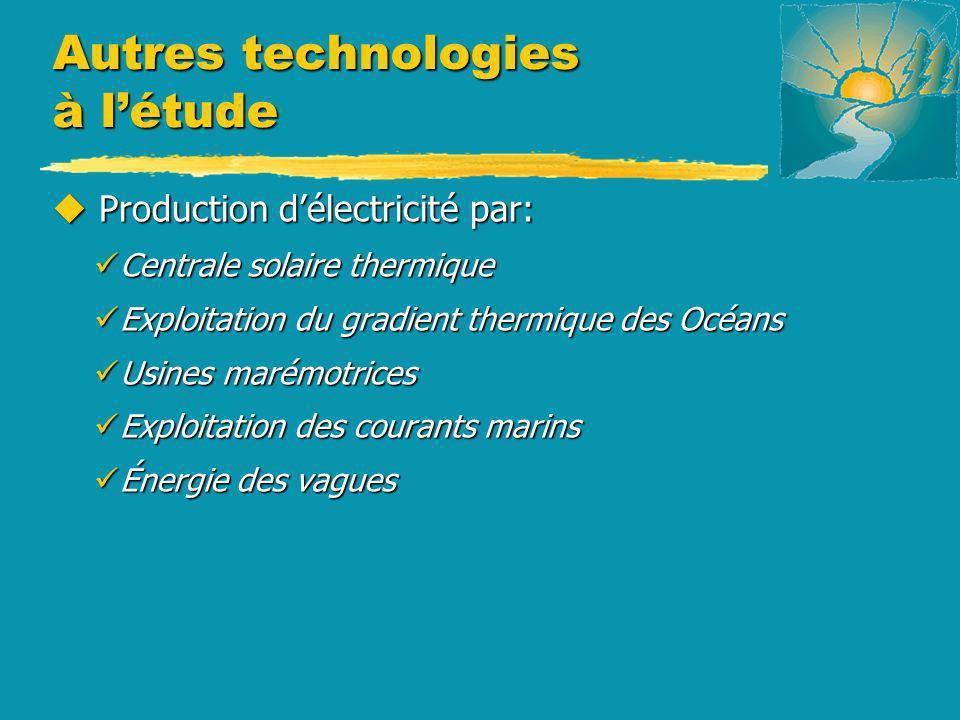 Autres technologies à létude u Production délectricité par: Centrale solaire thermique Centrale solaire thermique Exploitation du gradient thermique d