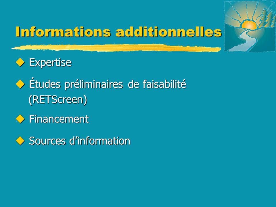 Informations additionnelles u Expertise u Études préliminaires de faisabilité (RETScreen) (RETScreen) u Financement u Sources dinformation
