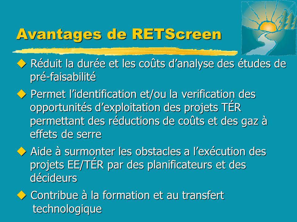 Avantages de RETScreen u Réduit la durée et les coûts danalyse des études de pré-faisabilité u Permet lidentification et/ou la verification des opport