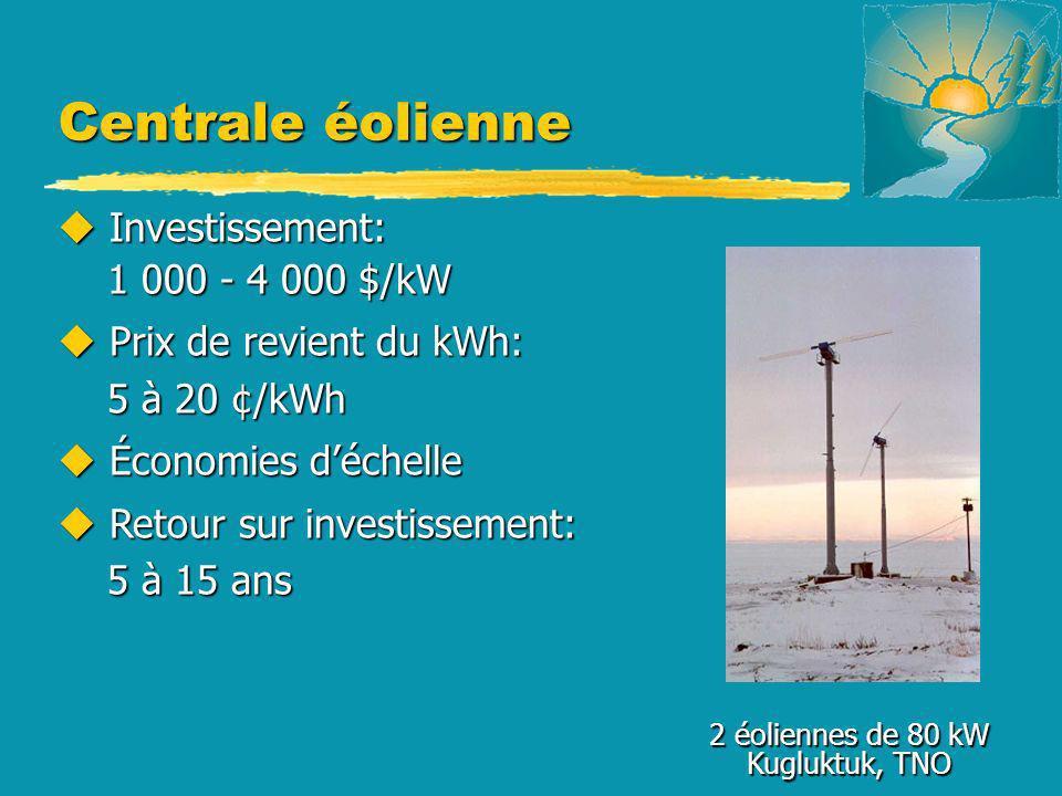 Centrale éolienne 2 éoliennes de 80 kW Kugluktuk, TNO u Investissement: 1 000 - 4 000 $/kW 1 000 - 4 000 $/kW u Prix de revient du kWh: 5 à 20 ¢/kWh 5