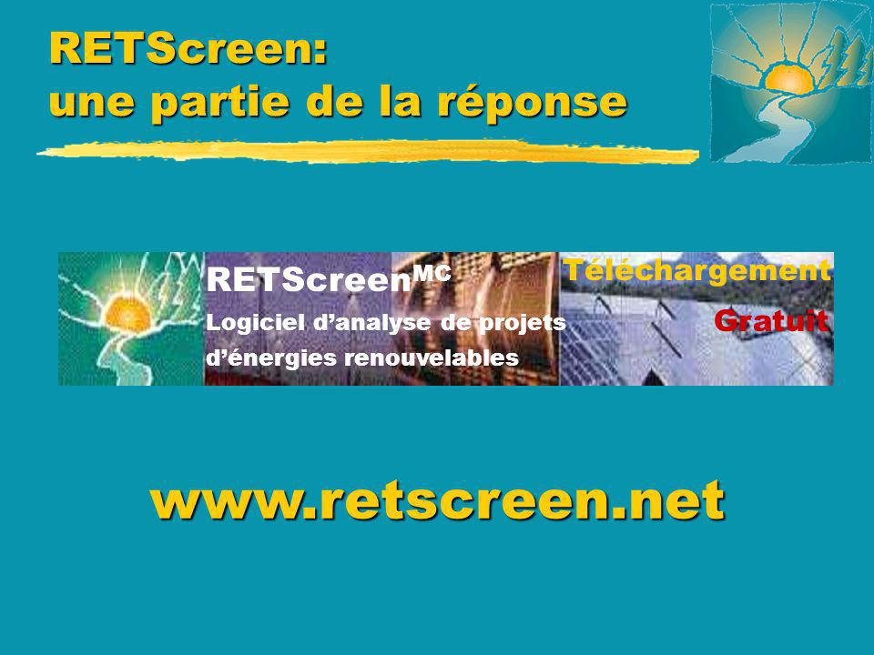 Sources dinformation u Laboratoire de recherche en diversification énergétique (LRDEC) Tél.: 1-450-652-4621 Tél.: 1-450-652-4621 Courriel: rets@nrcan.gc.ca Courriel: rets@nrcan.gc.ca Site internet: http://retscreen.gc.ca Site internet: http://retscreen.gc.ca u Affaires indiennes et du Nord - Canada Tél.: 1-819-997-8205 Tél.: 1-819-997-8205 Courriel: reference@inac.gc.ca Courriel: reference@inac.gc.ca Site internet: www.inac.gc.ca Site internet: www.inac.gc.ca Ressources naturelles Canada Natural Resources Canada CANMET- EDRL