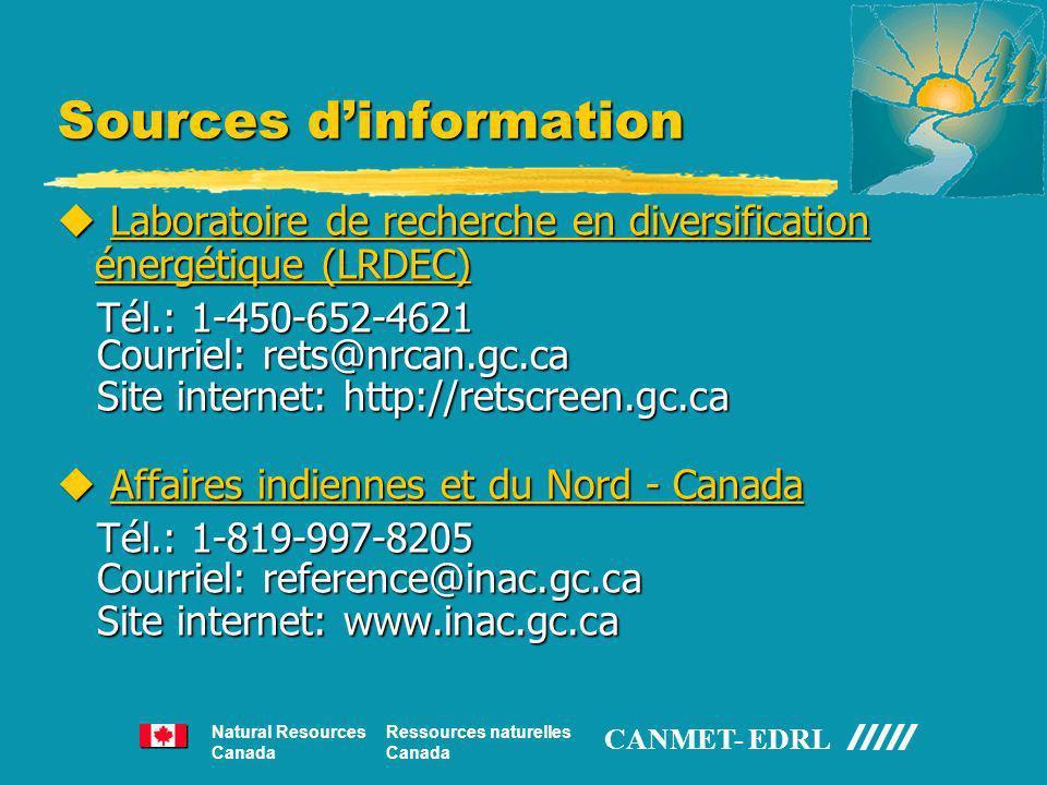 Sources dinformation u Laboratoire de recherche en diversification énergétique (LRDEC) Tél.: 1-450-652-4621 Tél.: 1-450-652-4621 Courriel: rets@nrcan.