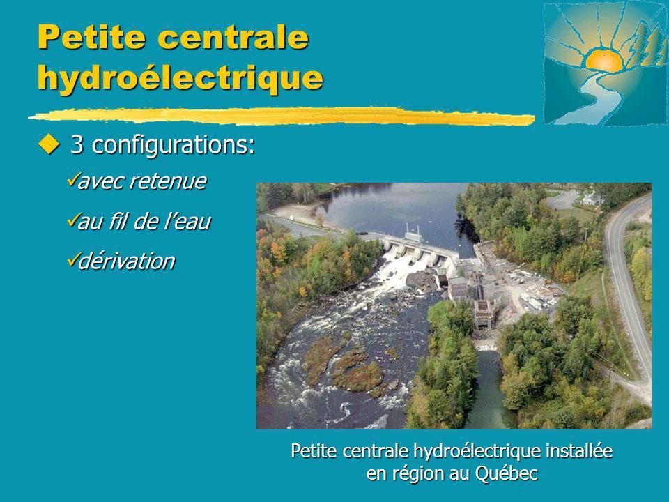 u 3 configurations: avec retenue avec retenue au fil de leau au fil de leau dérivation dérivation Petite centrale hydroélectrique installée en région